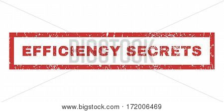 Efficiency Secrets text rubber seal stamp watermark. Tag inside rectangular banner with grunge design and scratched texture. Horizontal vector red ink sticker on a white background.