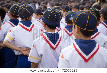 Backside Of Asian Boy Scout Group Line Up And Prepare For Boy Scout Camp Activities.