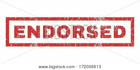 Endorsed text rubber seal stamp watermark. Tag inside rectangular banner with grunge design and dirty texture. Horizontal vector red ink emblem on a white background.