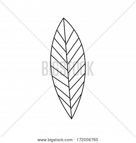 silhouette leaf with ramifications icon vector illustration