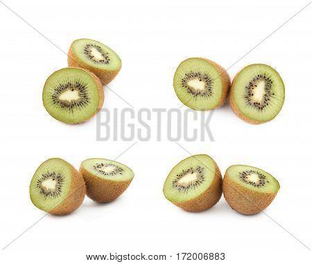 Sliced ripe kiwi fruits composition isolated over the white background, set of four different foreshortenings