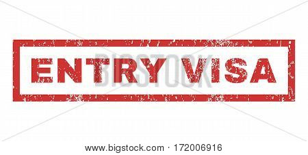 Entry Visa text rubber seal stamp watermark. Tag inside rectangular shape with grunge design and dust texture. Horizontal vector red ink emblem on a white background.
