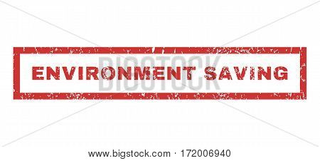 Environment Saving text rubber seal stamp watermark. Tag inside rectangular shape with grunge design and dust texture. Horizontal vector red ink emblem on a white background.