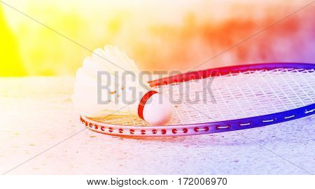 Badminton rackets and shuttlecock with color filters