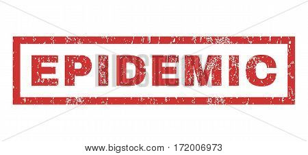 Epidemic text rubber seal stamp watermark. Caption inside rectangular shape with grunge design and dirty texture. Horizontal vector red ink sticker on a white background.