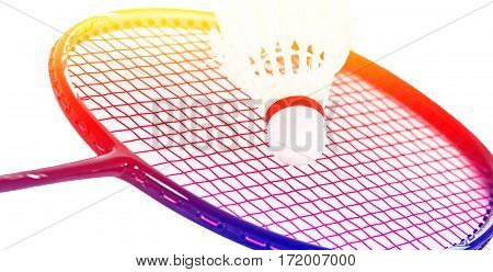 Close up badminton racket on white background with color filters