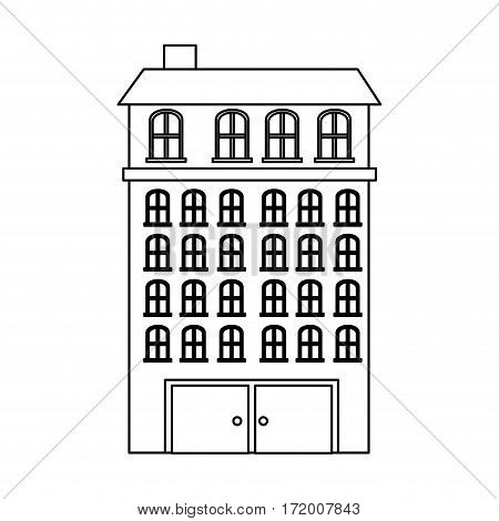 silhouette buildings residence with several floors vector illustration