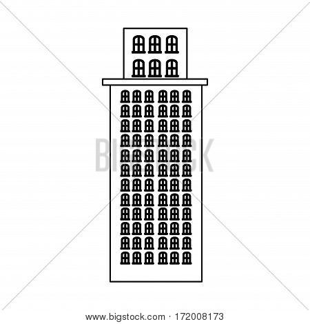 silhouette skyscraper residence with several floors vector illustration