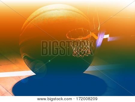 Basketball hoop with basketball ball on  black background with light effect