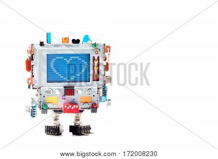 Love Heart And Retro Robot With Monitor Head, Colorful Capacitor Resistor Electronic Elements. Error