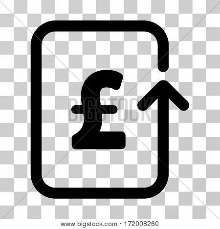 Reverse Pound Transaction vector pictogram. Illustration style is a flat iconic black symbol on a transparent background.