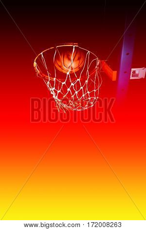 Basketball hood in the dark with color filters