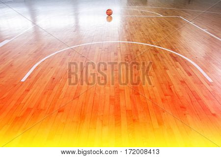 Basketball ball over floor with color filters