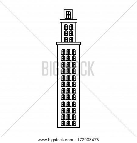 silhouette tower residence with several floors vector illustration