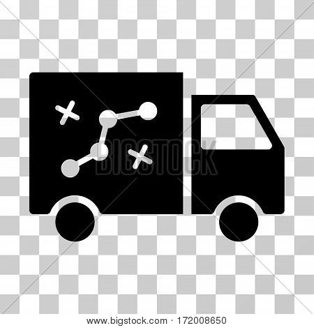 Route Van vector pictograph. Illustration style is a flat iconic black symbol on a transparent background.