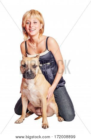 Woman and dog sitting together Fighting dog terrier and woman isolated on white
