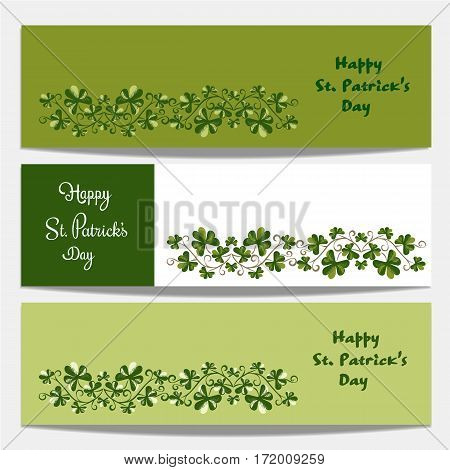 Shamrocks pattern. Set of banners. Freehand drawn vintage style. St Patricks Day background design. Green clover horizontal border. Ireland symbol. Vector decorative ornament shamrock on Irish holiday
