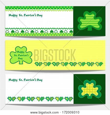 Shamrocks pattern. Set of banners. Freehand drawn cartoon style. St Patricks Day background design. Green clover horizontal border. Ireland symbol. Vector decorative ornament shamrock on Irish holiday