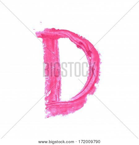 Single abc latin letter symbol drawn with a wax crayon isolated over the white background