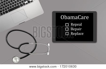 Healthcare concept with clean desk with medical and healthcare equipment with copyspace for message about Obamacare decision