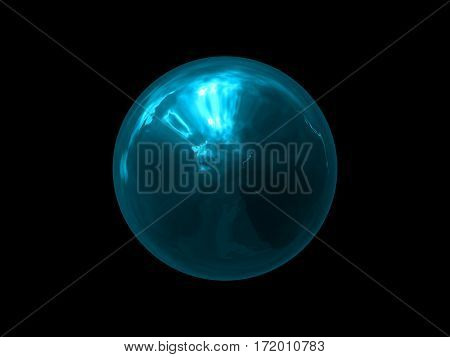 Abstract Glowing blue Sphere Energy on Black Background