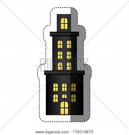 sticker apartment residence with several floors vector illustration