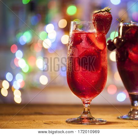 Glasses Of Strawberry And Cherry Cocktails