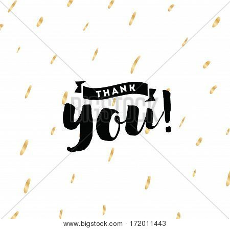 Thank you. Typography for poster, invitation, greeting card or t-shirt. Vector lettering, inscription, calligraphy design. Text background