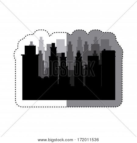 sticker frame silhouette cityscape scene night time vector illustration