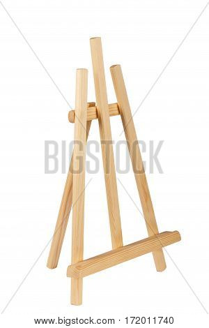 Wooden painter easel isolated on white. academy tripod.