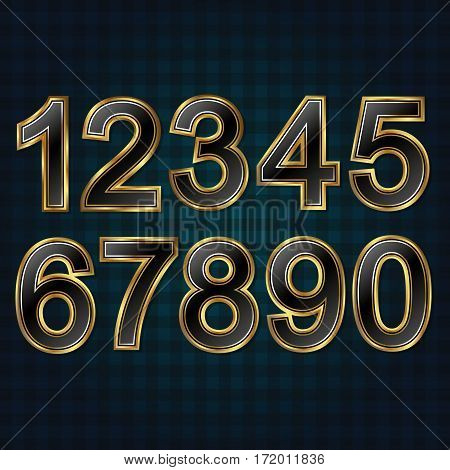 Set of beautiful numbers golden for decoration