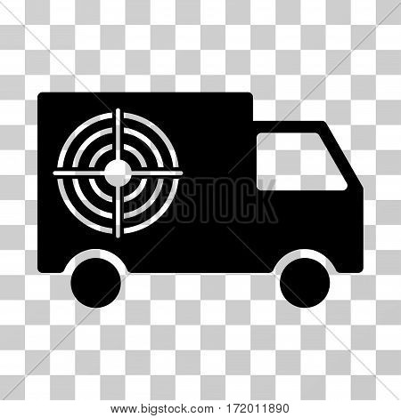 Shooting Gallery Truck vector pictogram. Illustration style is a flat iconic black symbol on a transparent background.