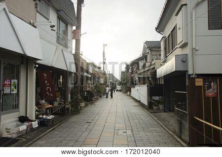 Japanese People Walking On Street At Small Alley In Kawagoe Or Kawagoe Little Edo