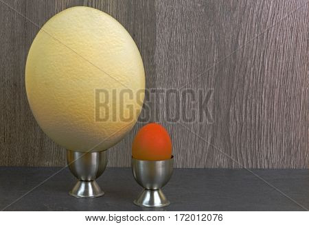 Ostrich egg and hen egg in the stands on a wooden background. Comparison of the size of eggs. Close horizontal view.
