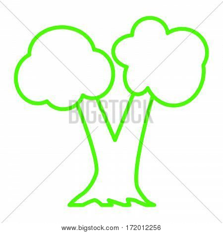 simple thin line double limb tree icon vector