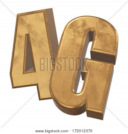 Gold 4G icon isolated on white background. 3D render letters