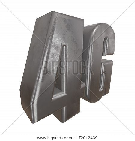 Metal 4G icon on white background. 3D render letters