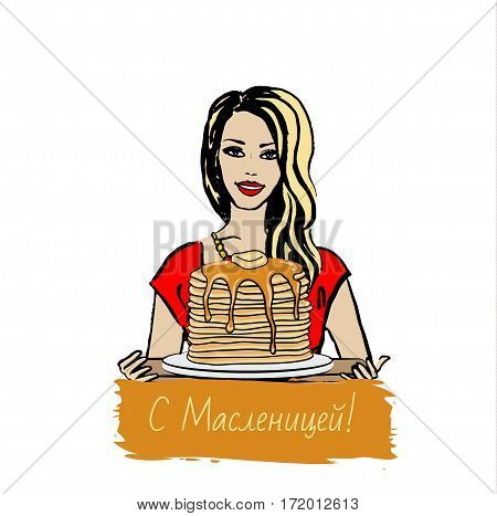 Hand-drawn illustration of woman with pancakes for russian Shrovetide - Maslenitsa