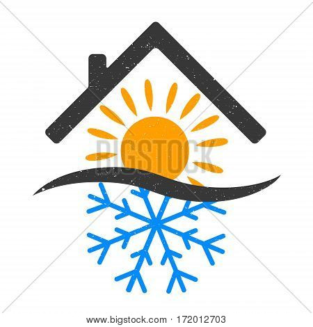 Snowflake and sun home design vector air conditioning