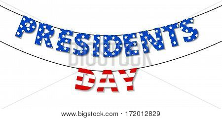 Happy Presidents Day Bunting isolated on white