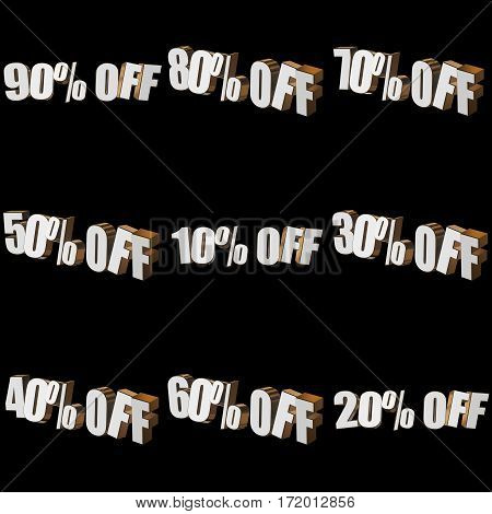 Percents off letters on black background. 3d render isolated.