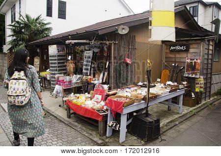 Thai Woman Visit And Buy Snack And Candy Alley Japanese Style Called Kashiya Yokocho At Kawagoe Town