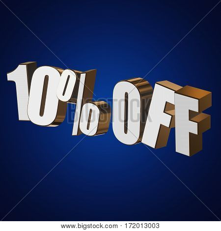 10 percent off letters on blue background. 3d render isolated.