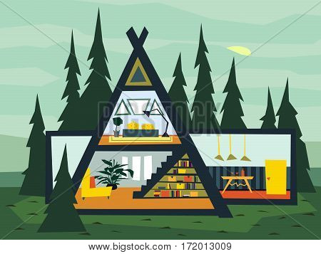 Family triangular house and apartment banners on the background. Gardening Flat Background Illustration. Cutaway with interiors of rooms and furnishings. Easily Editable vector