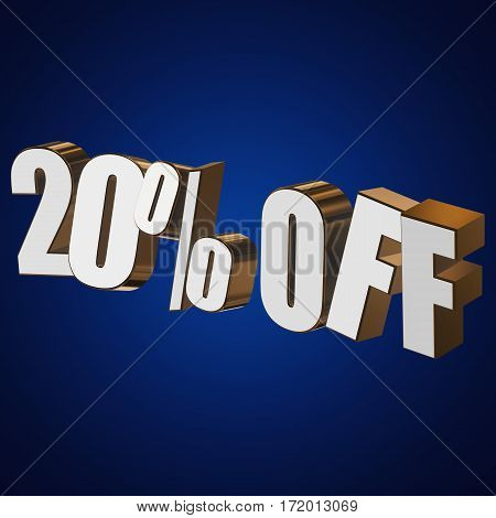 20 percent off letters on blue background. 3d render isolated.