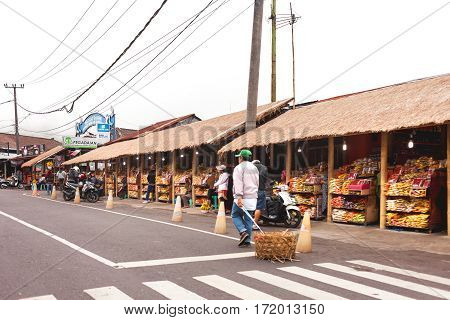 BALI INDONESIA - January 26 2013. Big market with fruits vegetables and spices.