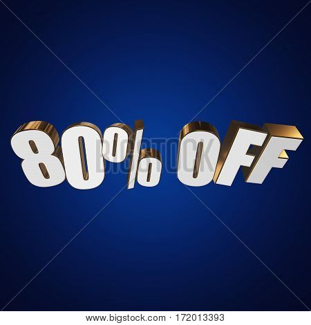 80 percent off letters on blue background. 3d render isolated.