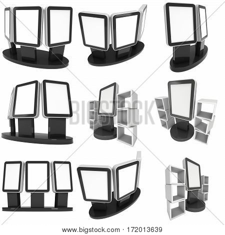 LCD Screen Stand Set. Black Trade Show Booth. 3d render of lcd tv isolated on white background. High Resolution. Ad template for your expo design.