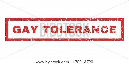 Gay Tolerance text rubber seal stamp watermark. Caption inside rectangular banner with grunge design and dust texture. Horizontal vector red ink sign on a white background.
