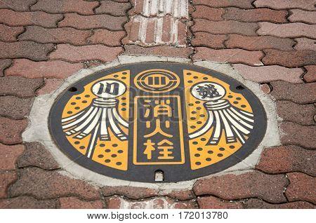 Art Design Symbol Of Saitama City On Manhole Cover At Footpath Beside Road